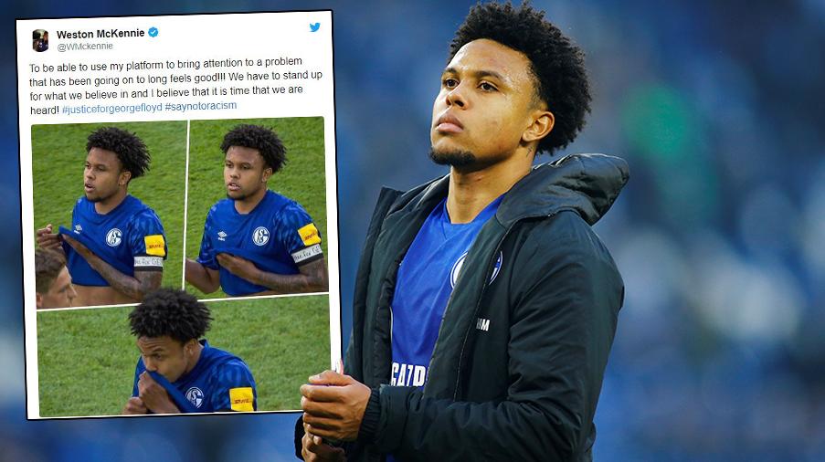 """Schalke-mittfältare bar armband med texten """"Justice for George"""" – """"Dags för oss att bli hörda"""""""