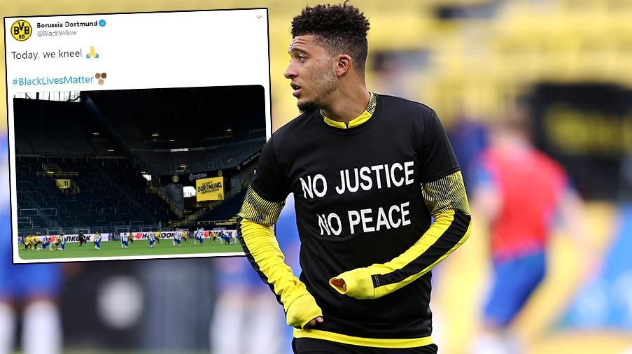Dortmund- och Hertha-spelarna gick ner på knä – visade sitt stöd för Black Lives Matter-rörelsen