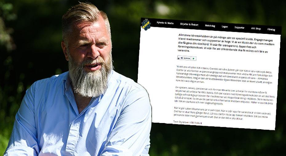 """AIK fördömer trakasserier: """"I dag är Björn Wesström mest utsatt"""""""